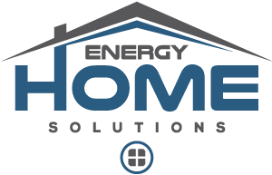 Energy Home Solutions Logo text with elements that look like roof, window, and chimney